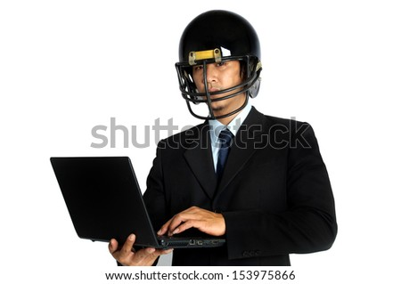 Business man  american football helmet hold notebook in isolated