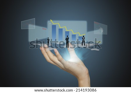 business man analyze graph on hand and connection of business with new modern. - stock photo