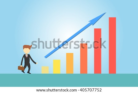 business man and a graph that rise
