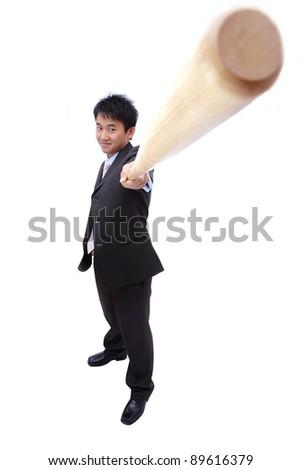 Business man and baseball bat - stock photo