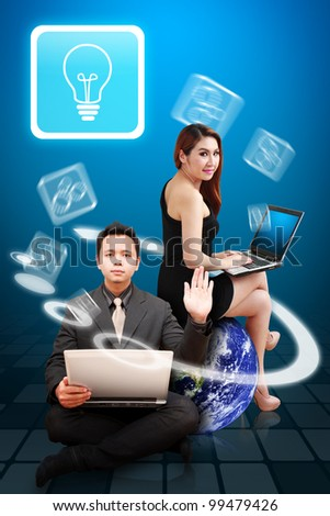 Business man and beautiful lady got idea : Elements of this image furnished by NASA