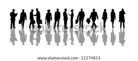 business man and business woman - silhouettes