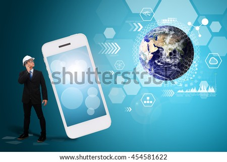 Business man and communication world : Elements of this image furnished by NASA - stock photo