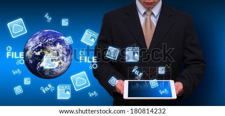 Business man and data information : Elements of this image furnished by NASA  - stock photo