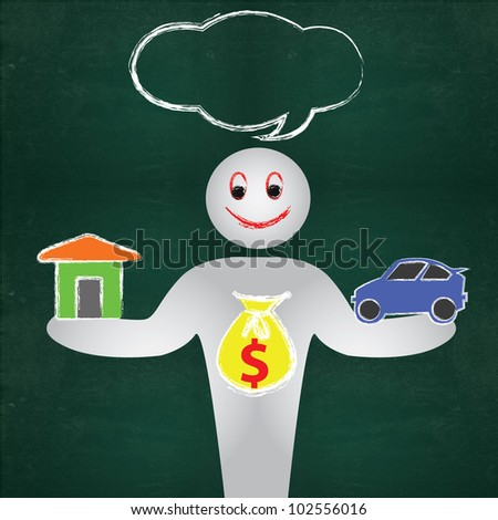 Business man and dollars sign on blackboard background - stock photo