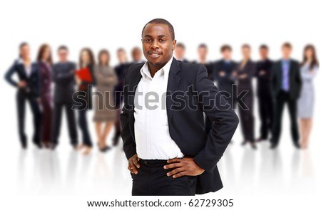 business man and his team isolated over a white backgroun - stock photo