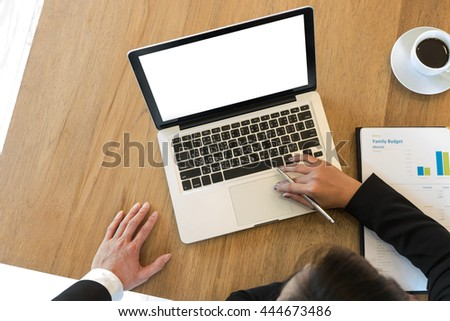 Business man and secretary at the desk, office gadgets and supplies.Management consulting young secretary.selective focus, - stock photo