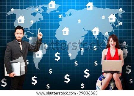 Business man and secretary present the House icon on world map : Elements of this image furnished by NASA