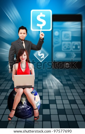 Business man and secretary touch Money icon from mobile phone : Elements of this image furnished by NASA