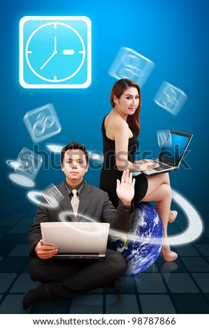 Business man and secretary use notebook computer and Time icon from Globe : Elements of this image furnished by NASA - stock photo