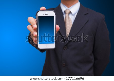 Business man and smart phone - stock photo