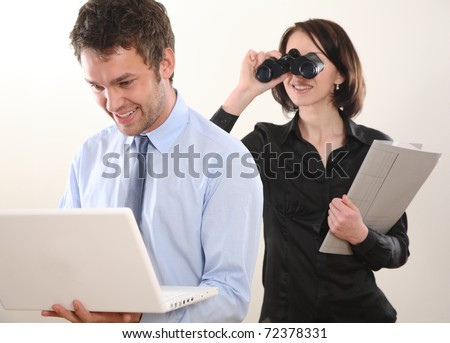 Business man and spying Woman