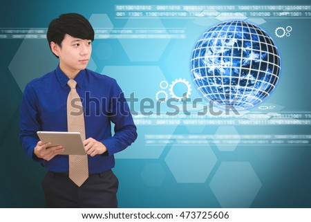 Business man and Technology background : Elements of this image furnished by NASA