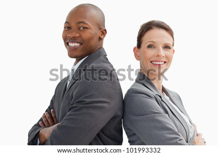 Business man and woman are smiling