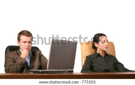 Business man and woman at the meeting - isolated - stock photo