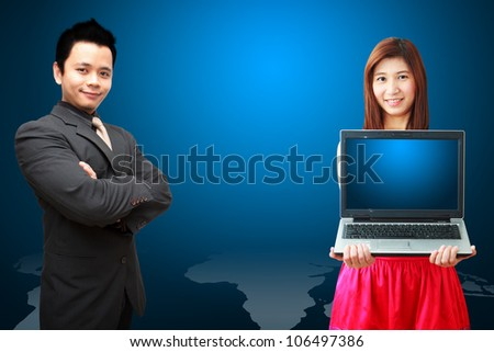 Business man and woman on world map background - stock photo