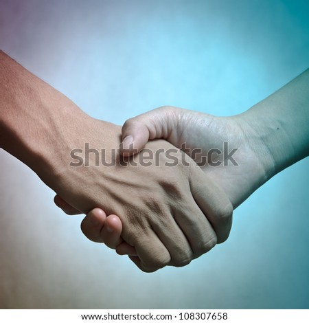 business man and woman shaking hands, isolated on white