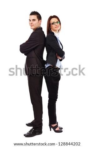 Business man and woman standing back to back isolated on white background. Teamwork concept - stock photo