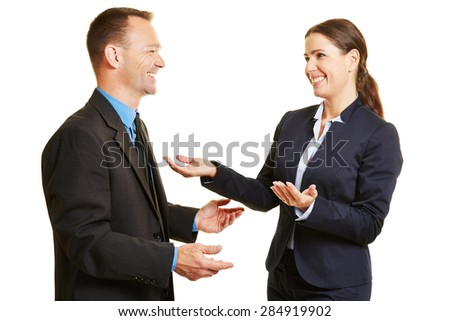 Business man and woman talking to each other during a conversation