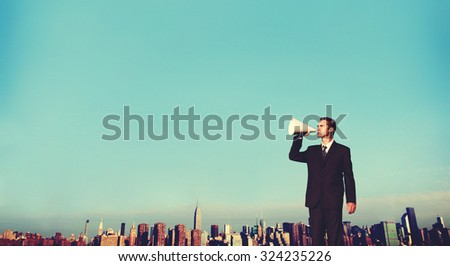 Business Man Announcement City Rooftop Concept - stock photo