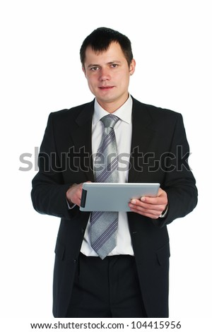 business man attire working on a tablet computer