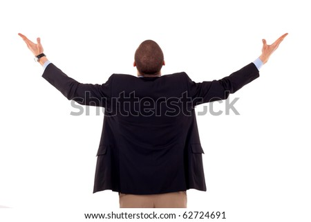 business man back praying with his arms up - stock photo