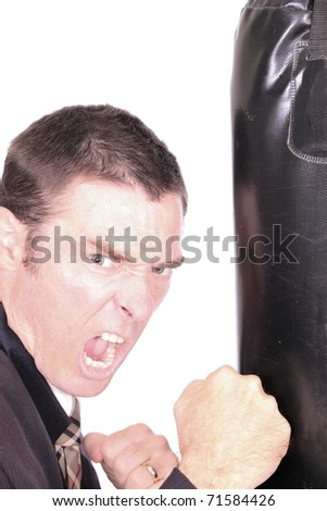 business man boxing punching bag concept image - stock photo