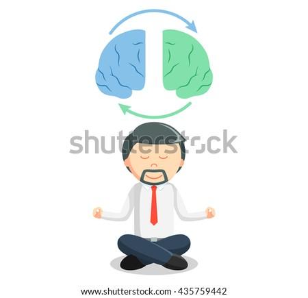 Business man brain meditation - stock photo