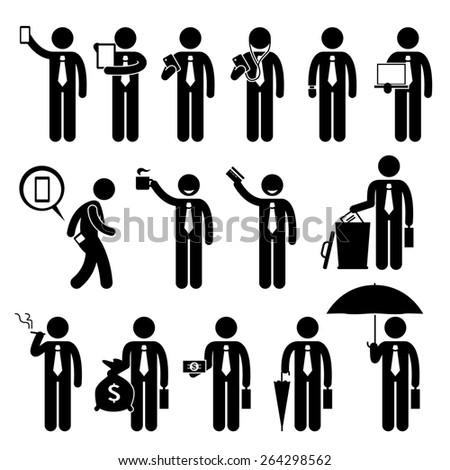 Business Man Businessman Holding Various Objects Stick Figure Pictogram Icons - stock photo