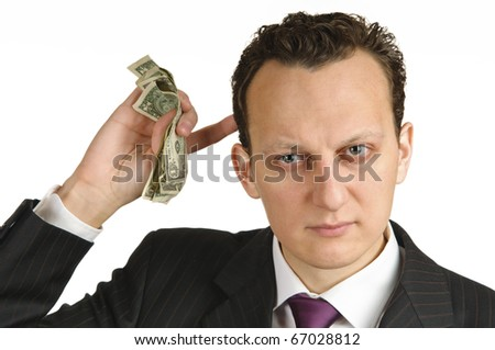 Business man calculating money in his mind, isolated on white background - stock photo