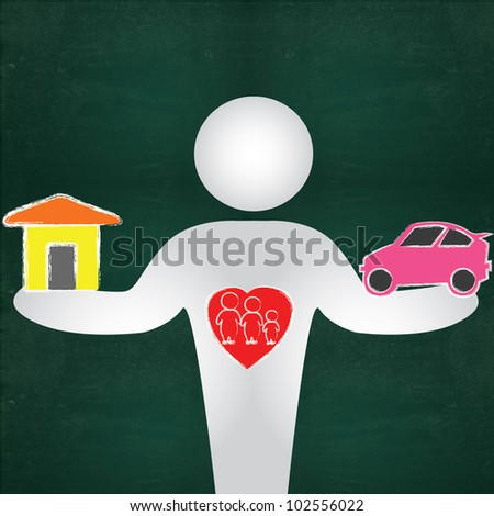 Business man, car and house on blackboard background - stock photo