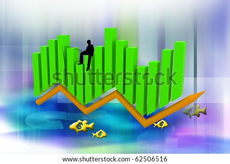business man catching dollars on the 3d graph - stock photo
