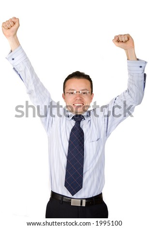 business man celebrating with his arms up over a white background