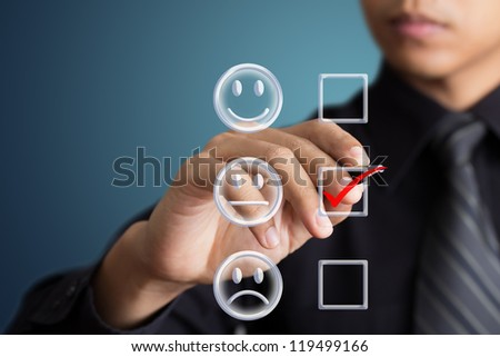 business man check box unconcerned mood - stock photo