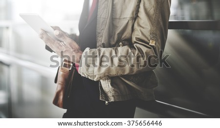 Business Man Checking Mails Standing Concept