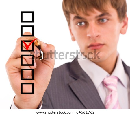 Business man choosing one of the options
