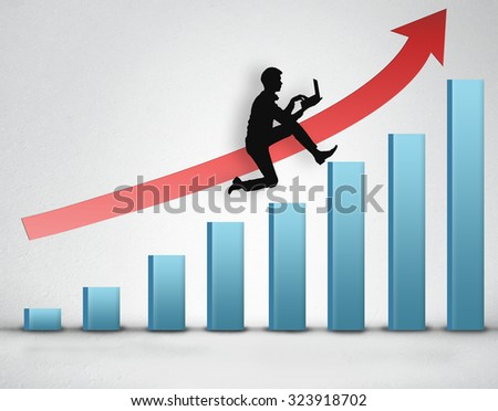 Business man climb blue bar stairs with laptop in hand