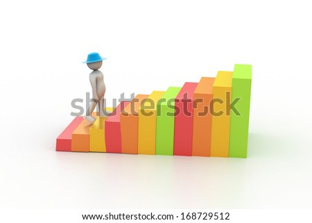 Business man climbing the growth