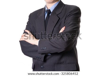 business man crossed arms isolated on white background