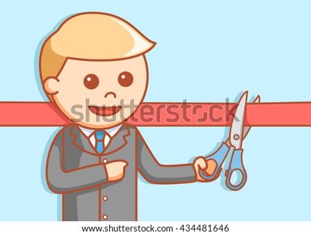 Business man cuting ribbon - stock photo