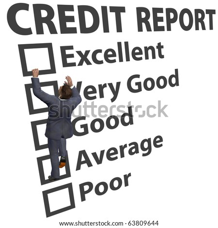 Business man debt consumer works to build up credit score rating report - stock photo