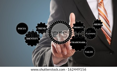 business man demonstrates the branding concept based on gear wheels - stock photo