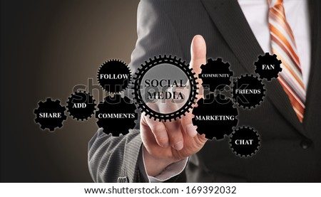 business man demonstrates the concept of social media based on gear wheels