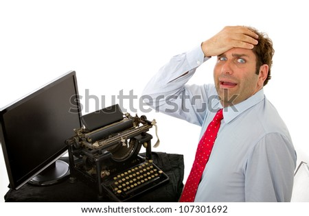 business man digital divide - stock photo