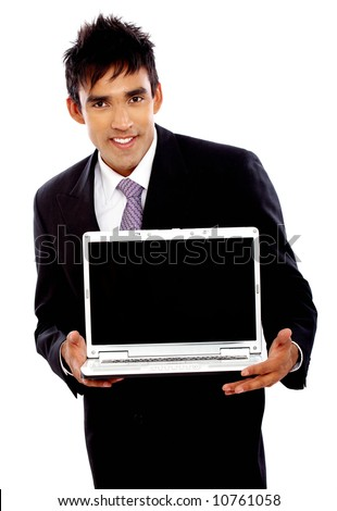 Business man displaying a laptop computer - isolated over a white background - stock photo
