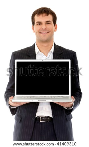 Business man displaying a laptop computer isolated over a white background