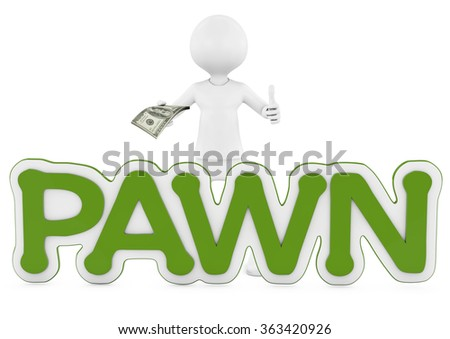 Business Man Displaying a Spread of Cash with pawn text. 3d image of pawnshop concept - stock photo