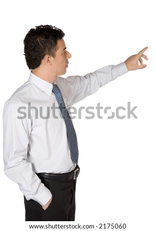 business man doing a presentation over a white background - stock photo