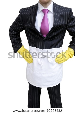 Business man doing the house chores. Isolated on white with clipping path. - stock photo
