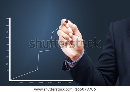 Business man drawing a graph. - stock photo